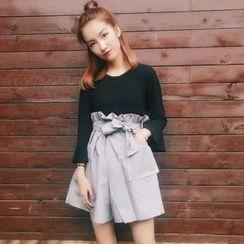 Miss Kekeli - Set: Plain 3/4 Sleeve Top + High Waist Wide Leg Shorts