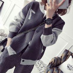 FR - Two-Tone Knit Baseball Jacket