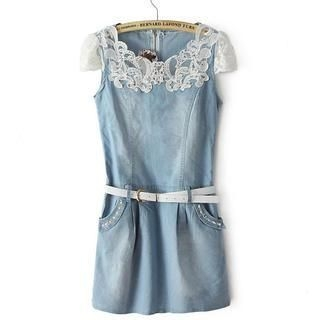 JVL - Lace-Panel Denim Dress