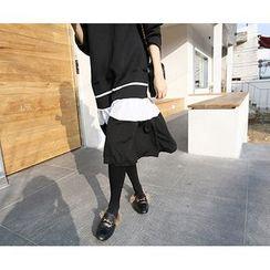 MARSHMALLOW - Ruffled-Hem Contrast-Trim Dress