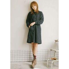 GOROKE - Mandarin-Collar Loose-Fit Dotted Shirtdress
