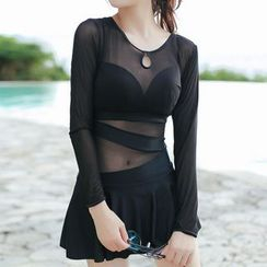 Lady J Swimwear - Keyhole Front Long-Sleeve Swimdress