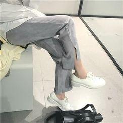 Alfie - Asymmetric Suede Cropped Pants