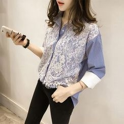 Little V - 3/4-Sleeve Lace Panel Blouse