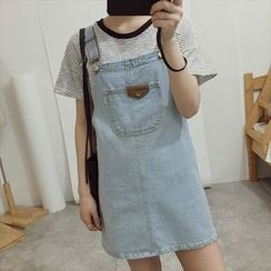 Moon City - Pocketed Dungaree Dress