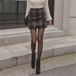 TOM & RABBIT - Zip-Back Plaid Mini Skirt