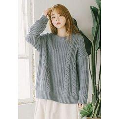 GOROKE - Drop-Shoulder Cable Knit Sweater