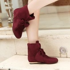 Pretty in Boots - Bow Velvet Short Boots