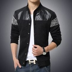 Alvicio - Faux Leather Panel Knit Jacket