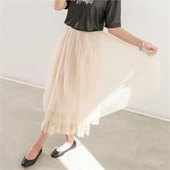 PEPER - Band-Waist Lace-Overlay Skirt