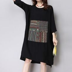 Diosa - Patterned Elbow-Sleeve Linen Cotton Dress