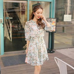 Cherryville - Floral Print Long-Sleeved Chiffon Dress