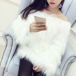 RUI - Off Shoulder Faux Fur Top