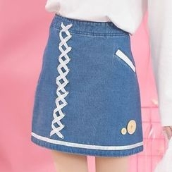 Moriville - Lace Up A-line Skirt