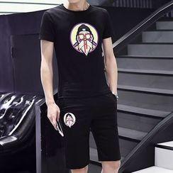 Riverland - 套裝: 印花短袖T恤 + 運動短褲