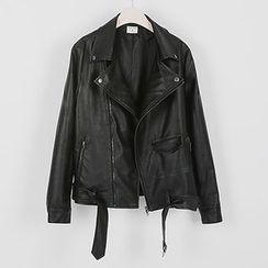 Seoul Fashion - Faux-Leather Rider Jacket