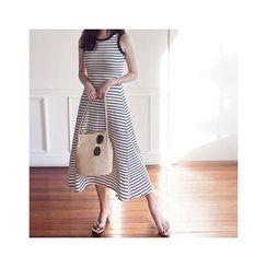 MASoeur - Sleevless Stripe A-Line Maxi Dress