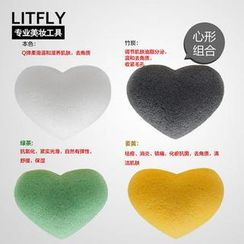 Litfly - Natural Konjac Sponge (Heart) (4 pcs)