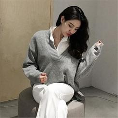 LIPHOP - Wool Blend V-Neck Dip-Back Knit Top