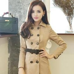 AiSun - Double-Breasted Trench Coat with Sash