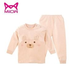 MiiOW - Kids Set: Cartoon Long-Sleeve T-Shirt + Striped Pants
