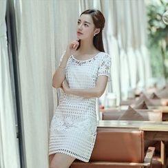 Harmonium - Embellished Short-Sleeve Shift Dress