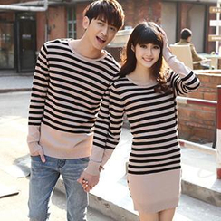 Igsoo - Couple Striped Knit Top / Knit Dress