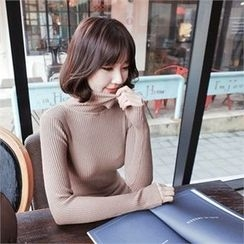 Styleberry - Turtle-Neck Rib-Knit Top