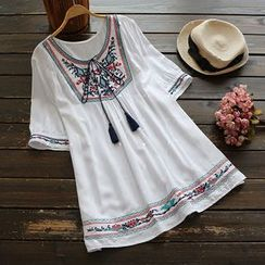 YOYO - Short-Sleeve Tie-Neck Embroidered Long Top
