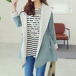 Rocho - Lace Panel Hooded Drawstring Jacket