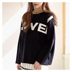 Sechuna - Round-Neck Lettering Knit Top