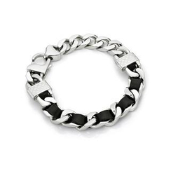 Kenny & co. - Black Leather Screw Bracelet (L)
