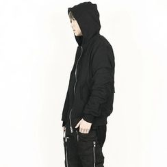 Rememberclick - Shirred-Detailed Zip-Up Hoodie