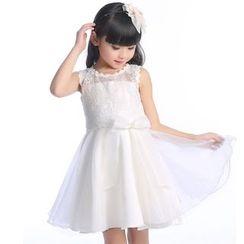 Cuckoo - Kids Lace Trim Bow Accent Sleeveless Dress