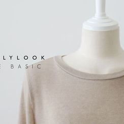 DAILY LOOK - Round-Neck Wool Blend Top