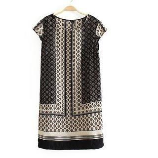 Flower Idea - Cap-Sleeve Ethnic-Print Dress