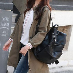 JUSTONE - Zipped Faux-Leather Backpack