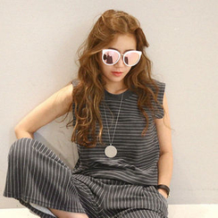 NANING9 - Set: Stripe Tank Top + Band-Waist Pants