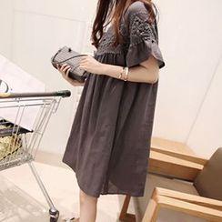 Fashion Street - Short-Sleeve Lace Trim Dress