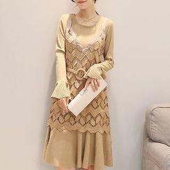 茜珞萊 - 套裝: 喇叭袖連衣裙 + 鉤織蕾絲吊帶連衣裙