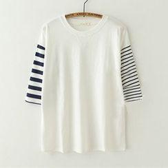 Meimei - Stripe 3/4 Sleeve T-Shirt