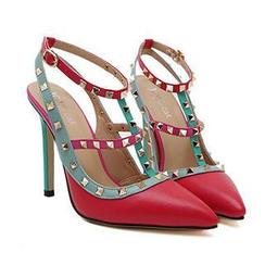 Mancienne - Studded Color-Block High-Heel Sandals
