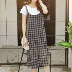 MayFair - Set: Plain Short-Sleeve T-Shirt + Check Midi Dress