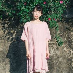 tete - 短袖褶皺直筒連衣裙