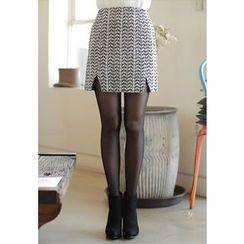 MyFiona - Cutout-Hem Herringbone Mini Skirt