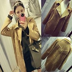 Bloombloom - Fringed Double-breasted Suede Trench Coat