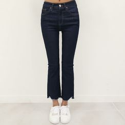 DANI LOVE - Frayed Brushed-Fleece Lined Boot-Cut Jeans