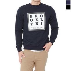 Seoul Homme - Round-Neck Lettering Sweatshirt