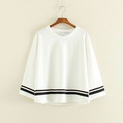 Mushi - Striped 3/4 Sleeve T-Shirt