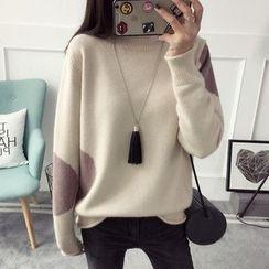 Qimi - Color Block Mock Neck Sweater